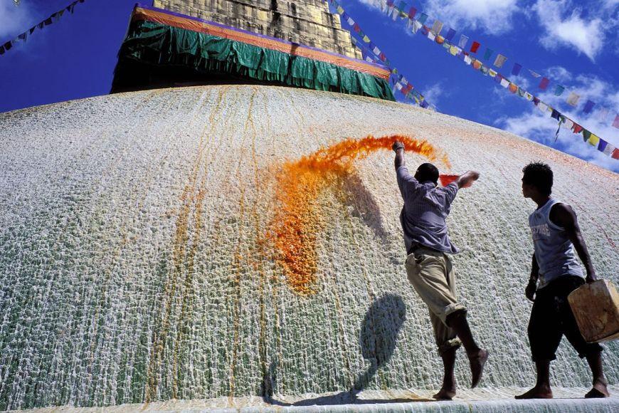 Lotus painting, Kathmandu Valley, Nepal