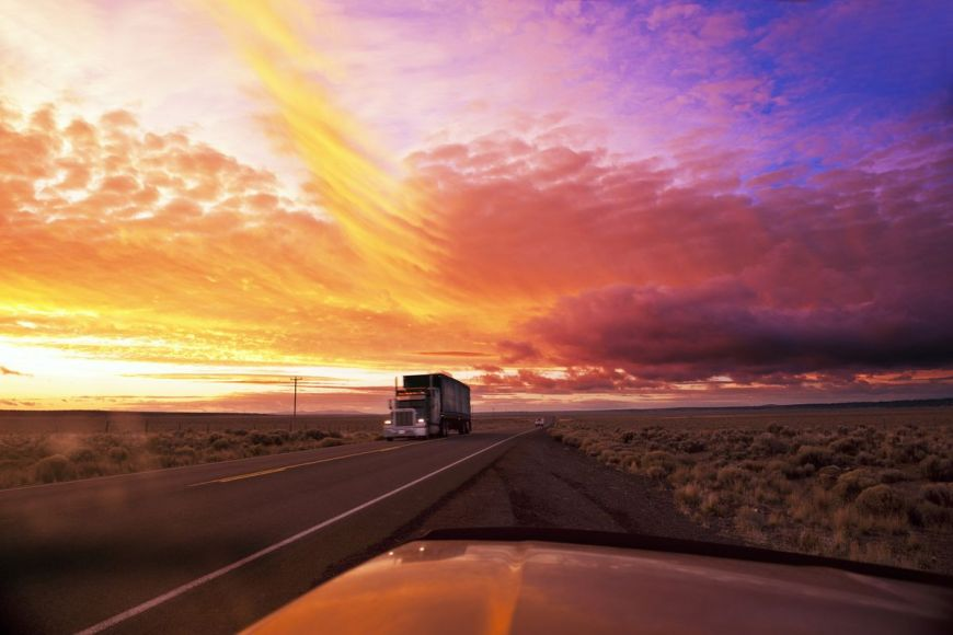 Truck on highway, Oregon, United States