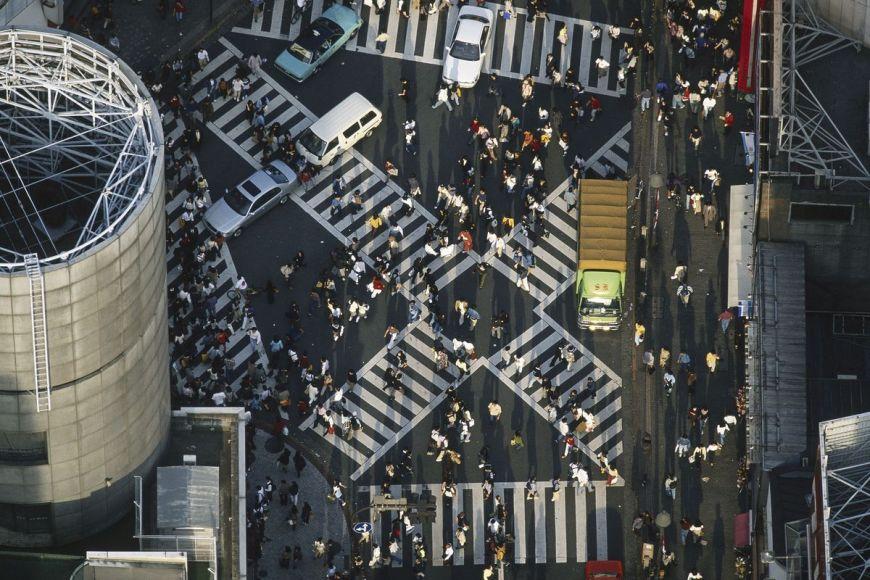 Japon, Piétons dans les rues de Tokyo