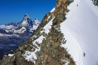 Switzerland, Climbers on the Allalinhorn